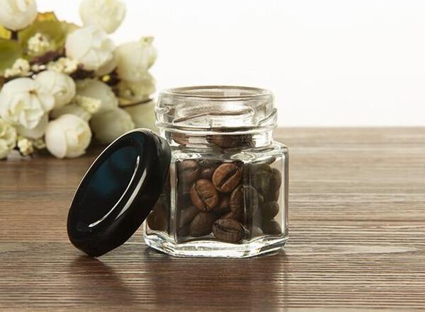 45 ml şeffaf cam şişeler reçel kavanoz bal Gıda depolama tankı Mühürlü depolama tankı bal cam kavanoz düğün için