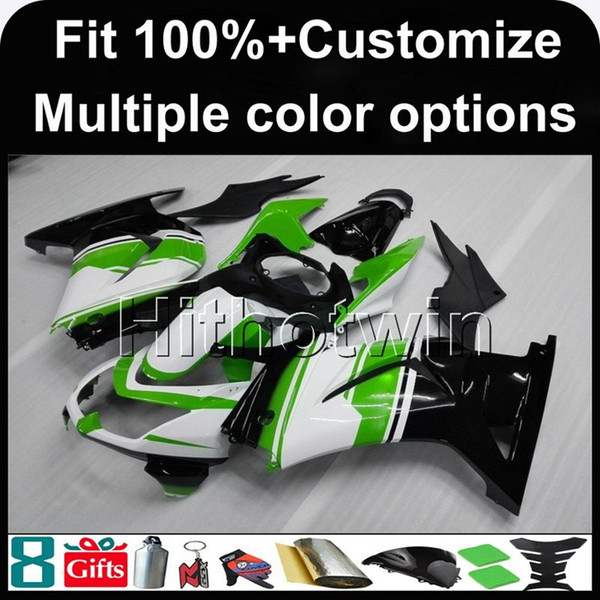 23colors+Gifts Injection mold GREEN WHITE motorcycle cowl for Kawasaki ZX 250R EX-250 2008-2012 EX250 08 12 ABS Plastic Fairing