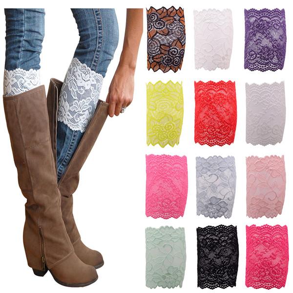 Nuevo Stretch Lace Boot Cuffs 12 colores de alta calidad de las mujeres de la flor calentadores de la pierna de encaje recortar Toppers calcetines