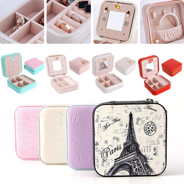 100Pcs/lot Travel Cosmetic Leather Jewelry Box Necklace Ring Storage Case Organizer Display With Mirror