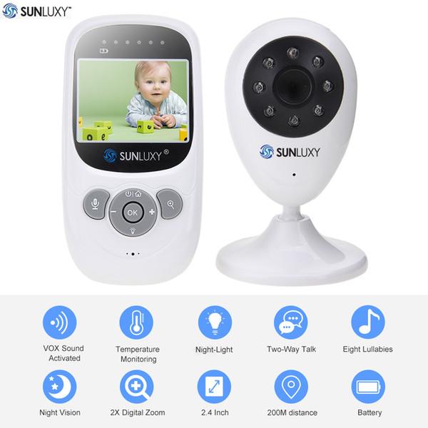 Großhandels-SUNLUXY 2.4 '' Farbe Video Wireless Baby Monitor Nachtlicht Babyphone Überwachungskamera 2-Wege-Talk Digital Zoom Musik Temperatur