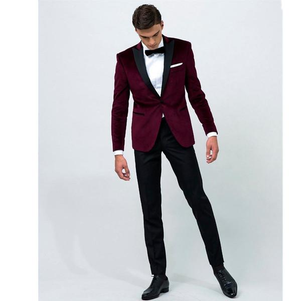 Acquista Giacca Bordeaux 2020 Personalizzato Pantaloni Neri Da Sposa Formale Groomsmen Vestito Di Affari E Uomo Degli Uomini Vestito Fatto Su Misura A