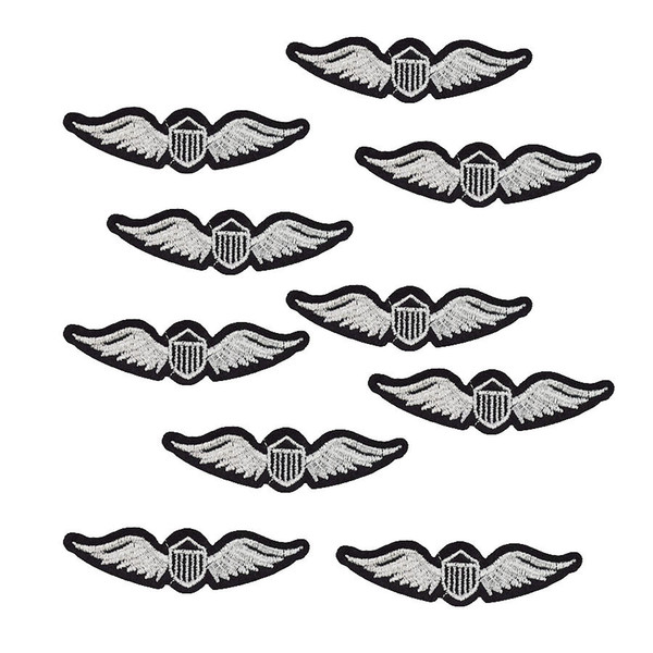 10PCS silver wings badge embroidery patches for clothing applique iron on patches sewing accessories badge stickers on clothes iron-on patch