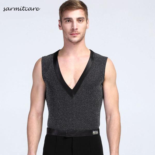 D089 - Male Deep V Neck Sleeveless Latin Dance Shirt for Men Samba Dance Costumes Tango Samba Costume Dance Clothes Latin Shirts Vest