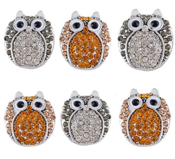 Mode Belle Hibou Forme Cristal Noosa Snap Bouton 2 Modèles 19 * 22mm Bijoux Interchangeables Pour DIY Bracelet Valentine Cadeau 2pcs / lot K4L