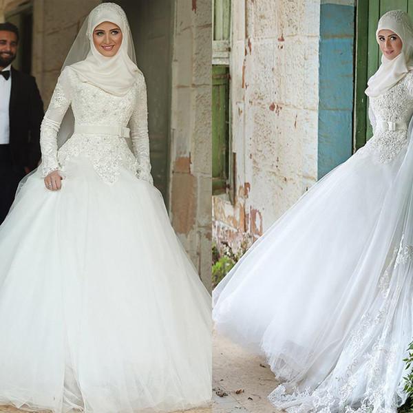 High Neck Long Sleeves Wedding Dresses Muslim Lace Applique Chapel Train Bridal Gowns Robes De