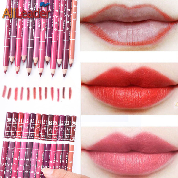Wholesale- 100% Safe 12Pcs/Lot Brand Lip Pencil Kit 12 Colors Waterproof New Long-Lasting Lip Pen Batom Mate Lip Liner Make Up Tools 15Cm