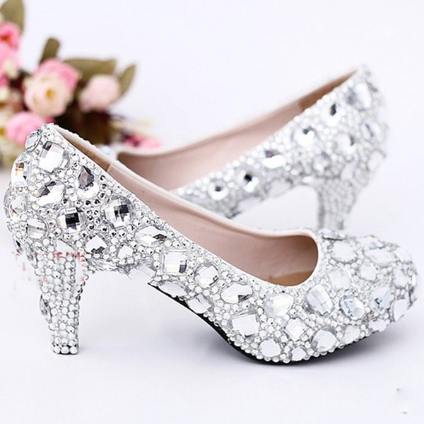 Sexy Crystal Wedding Dress Pumps 6cm Middle Heel Comfortable Bridal Shoes Silver Woman Party Prom Shoes Bridesmaid Shoes Size 2 Wedding Shoes