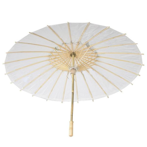 30 pcs Bambou Diamètre 23.6 pouces Parapluie De Mariage Parasol Papier Blanc Manche Longue De Mariage Faveur Parasol Adulte Taille ZA0946