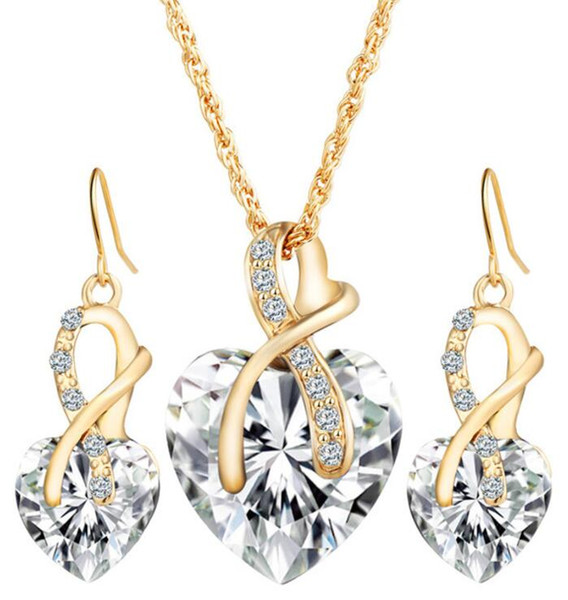 Gold Color Love Crystal Heart Jewelry Sets For Women Necklace Earrings Jewellery Set New Bridal Wedding Accessories