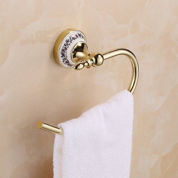 Free Shipping Towel Ring Solid Brass Copper Golden Finished Bathroom Accessories Products ,Towel Holder,Towel bar Blue and white porcelain