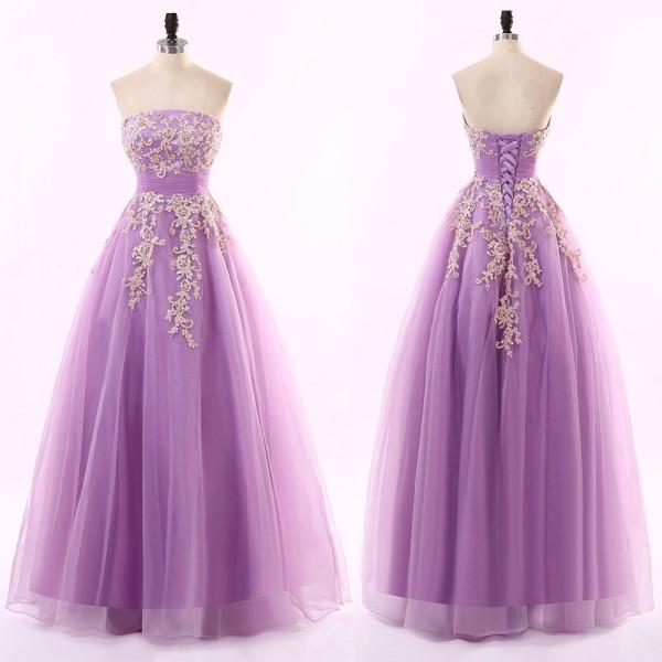 Nouvelle arrivée lilas robe de bal longue soirée formelle robes de soirée bustier sans manches corset robe de soirée avec dentelle perlée longueur de plancher