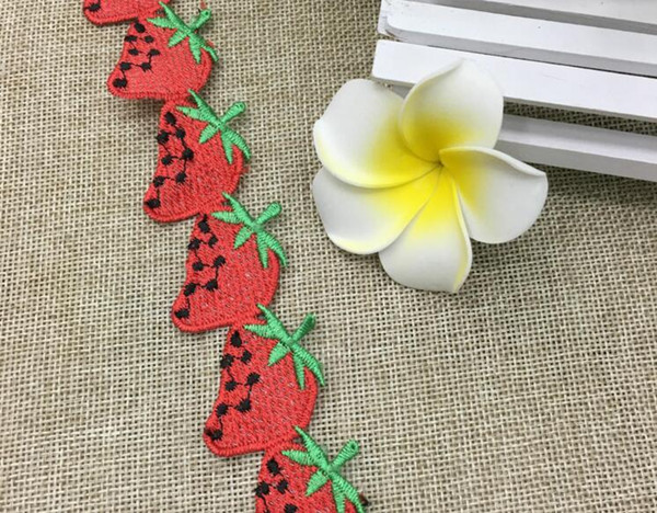 20Yard Embroidered Strawberry Lace Cotton Fabric Trim For Sewing Apparel DIY Dress Doll Cap