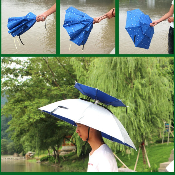 40pcs Wholesale 360 degree All round Umbrella hat double layer outdoor anti-uv umbrella cap windproof umbrella hat for fishing ZA0523