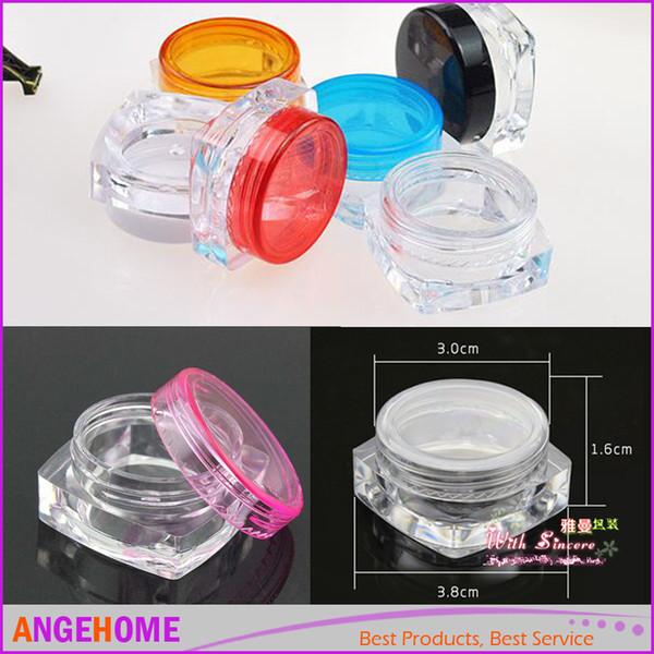 3g Plástico Cosmético Envase Botella de Muestra de Crema de Esmalte de Uñas Vacío Bálsamo Labial Embalaje Cuadrado Frasco de Fondo Envío Gratis