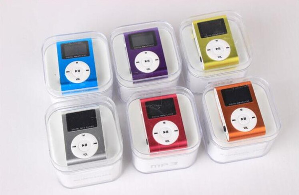 Fasion MP3 Player Mini Clip Music Player with LCD Screen Support Micro TF/SD Memory Card Come With USB Cables Earphones Crystal Retail Box