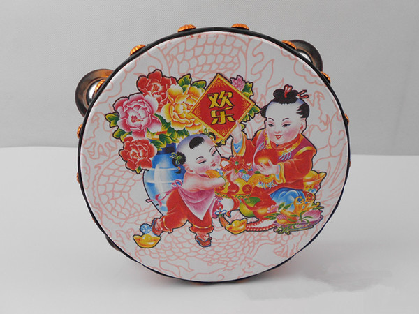 top popular Musical Tambourine Tamborine Drum Round Percussion Gift for KTV Party Drumhead 16cm with Steel Wipes Wooden Ring Chinese traditional patter 2020