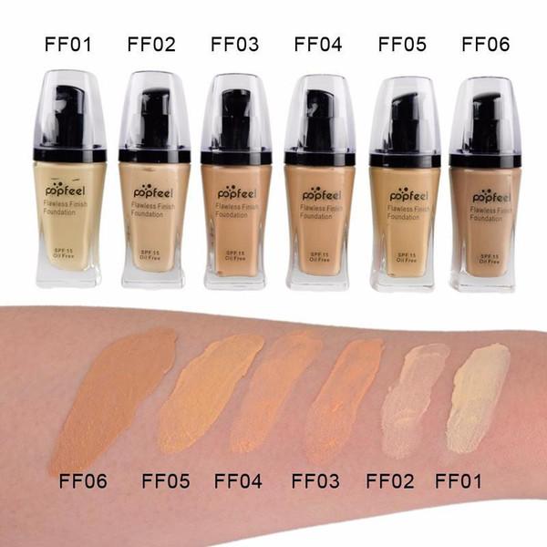Discount price Popfeel Liquid Concealer Foundation Flawles Finish Foundation Popfeel Cosmetics Makeup Liquid Foundation 6 Colors DHL Free
