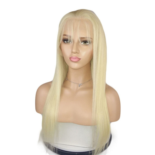 613 Blonde Full Lace Human Hair Wigs With Baby Hair Straight Brazilian Virgin Hair Natural Hairline Lace Front Wigs 10-26 inch