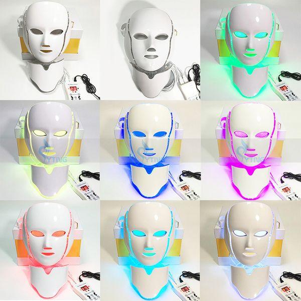 PDT 7 светодиодные красоты свет терапия маска для лица шеи Фотон омоложения лица микротоков уход за кожей мини Главная салон машина