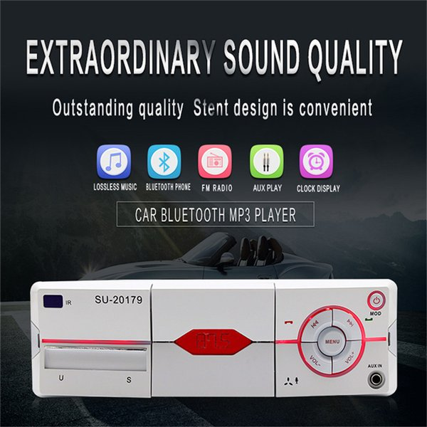 Bluetooth Car Stereo Audio Receiver MP3 Player Remote Control U Disk Card Radio with Mobile Phone Bracket Design /AUX Audio Input/AM/FM/File
