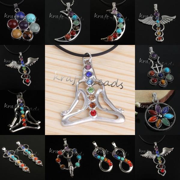 Commercio all'ingrosso 10pcs fascino argento placcato Mix 7 pietra perline Chakra Healing Point pietra gioielli ciondolo collana adatta