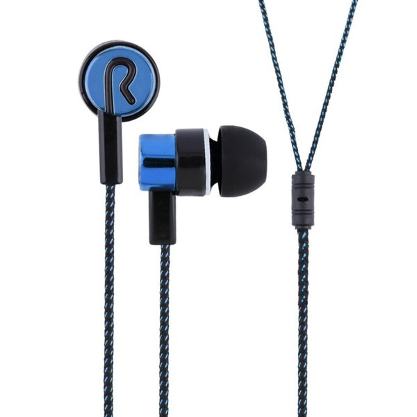 New Metal Earphones Jack Standard Noise Isolating Reflective Fiber Cloth Line 3.5mm Stereo In-ear Earbuds Headset with Listening Music