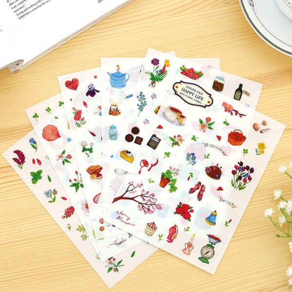 6sheets/pack DIY Sweet Japan Happy life series sticker/hot selling decoration stickers/school stationery supplies/wholesale , free shipping