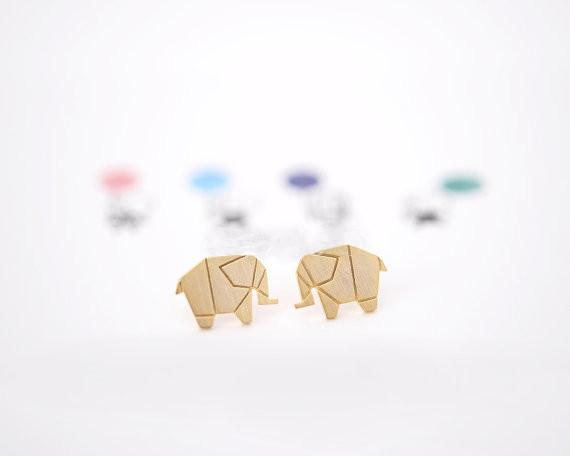 Cute Stainless Steel Origami Elephant Charm Animal Stud Earrings For Women Gold Silver Plated Vintage Metal Jewelry