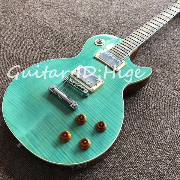 NEUE heiße verkaufende E-Gitarre mit See-blaue Flammen-Ahorn-Oberseite, Mahagonibraunrückseite, alle Farben sind vorhanden