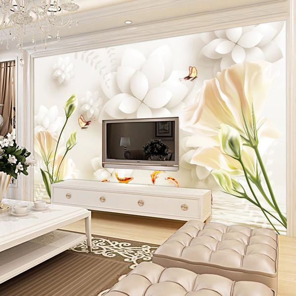 Großhandel Elegant Lily Fototapete Benutzerdefinierte 3D Tapete Für Wände  Tulip Blumen Fototapete Schlafzimmer Wohnzimmer Café Restaurant ...