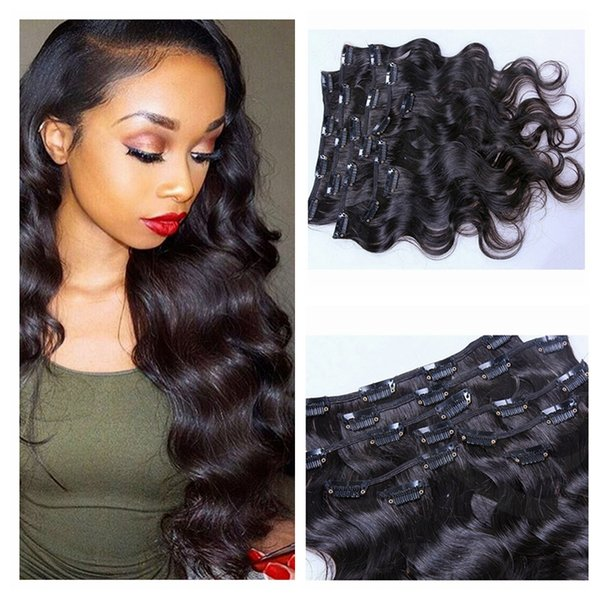 7A Grade 100% Brazilian Virgin Remy Clips In Human Hair Extensions 100g Full Head Natural Black Wet and Wavy Body Wave Clips in