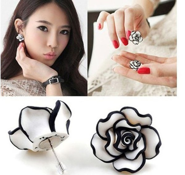 Hot! Fashion Cute Women Lady Girls Black & White Rose Flower Stud Earrings