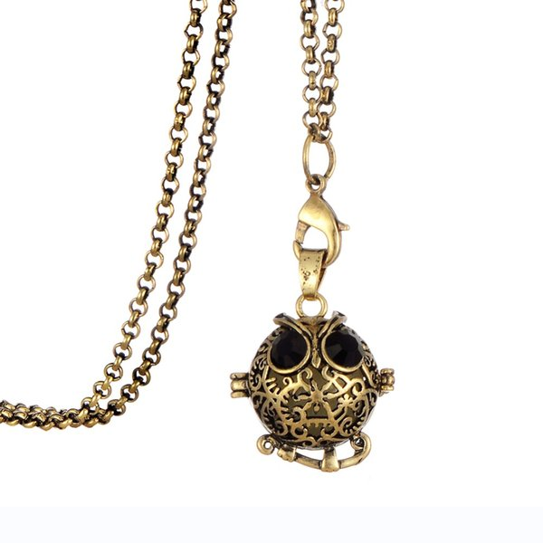 glow in the dark animal owl locket antique bronze pendant necklace fragrance aromatherapy essential oil diffuser bohemia style, Silver