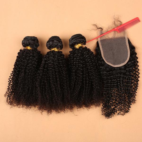 Verworrenes gelocktes Menschenhaar-heiße Haar-Produkt-3pcs Menschenhaar-Bündel mit Spitze mit Schließung kann gefärbte Menschenhaar-Webart sein