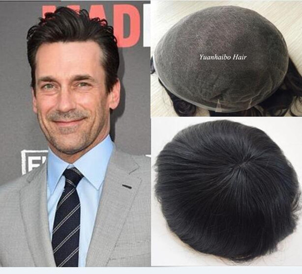 Men toupee full swiss lace 7x9 or 8x10 size in stocks natural black stock indian remy human hair toupee breathale free shipping