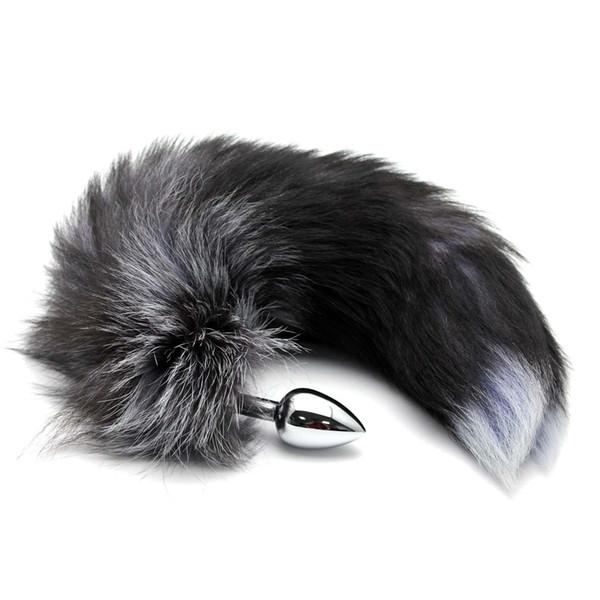 Coda nera giocattolo del sesso del giocattolo del sesso del culo del tappo di inserzione della spina della coda di Fox del faux nero T701