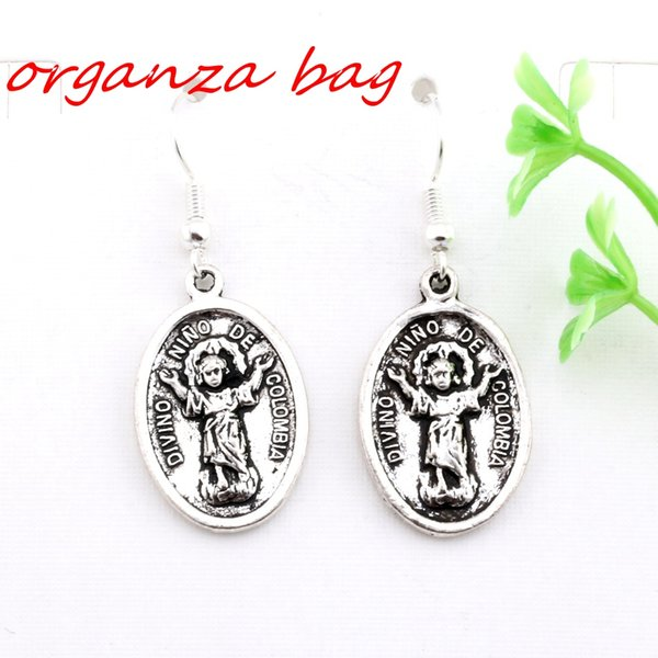 Hot ! 24 pair Antique silver Divino Nino De Colombia Charms Earrings With Fish hook Ear Wire 16 X 42mm