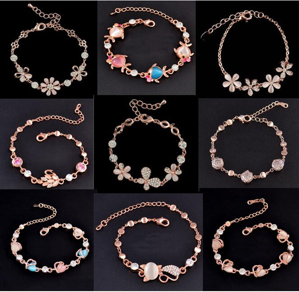 Mix Charm Bracelet Cat Eye Gem stone Luxury Marquise Cut Austrian CZ Crystal Gold Plated Rose Fox Fish Heart Jewelry Fashion Bracelet DHL