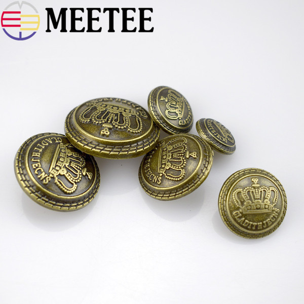 10Pcs High Quality Metal Button 13mm 15mm 17mm 20mm 22mm 25mm Coat Buttons Fashion British Crown Suit Jacket