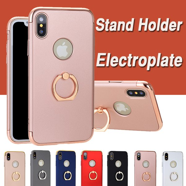3 in 1 Coated Electroplate Frame Plating Case Shockproof Protective Hard Cover With Stand Holder Cover For iPhone XS Max XR X 8 7 6 6S Plus