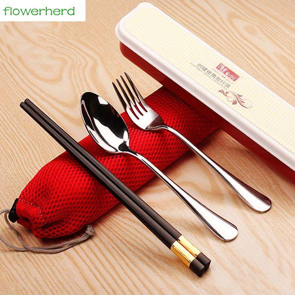 3Pcs/Lot Portable Stainless Steel Tableware Dinner Set Scoop Black Gold chopsticks Fork Metal Cutlery Dinnerware Set
