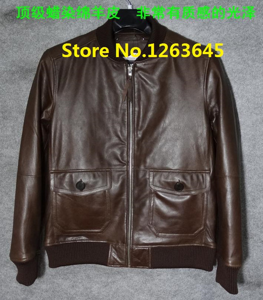 Fall-Brown Blue Black Cheap Genuine Leather Jacket Men Natural Sheepskin Leather Coat Pocket Factory Price High Quality Free Shipping