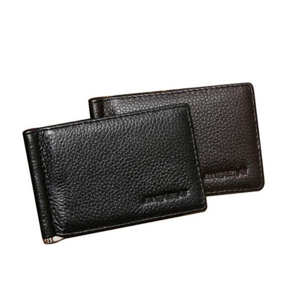 Männer Echtes Leder Geld Clips Kartensteckplätze Multifunktionale Ultradünne Geldbörse Schwarz Clips Paket Weiche Kaffee Casual Brieftasche