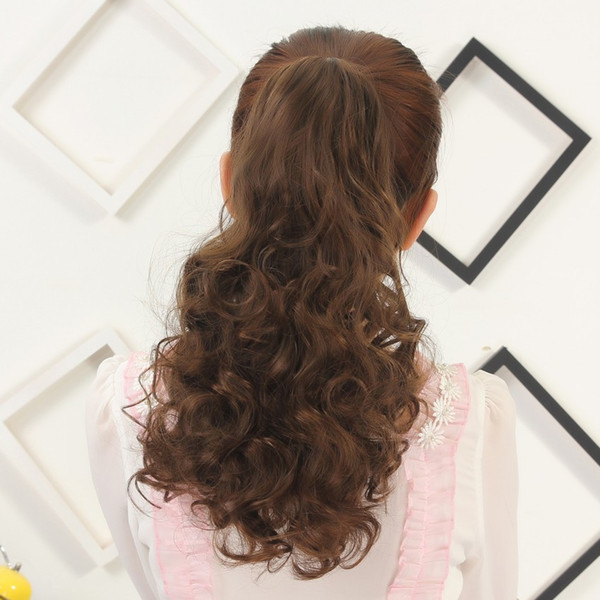 """Sara Claw Kinky Wavy Curly Ponytail Hair Extension Synthetic Ponytail 45cm,18"""" Hair Piece Clip in Pony Tail Brown Horsetails Hairpiece"""