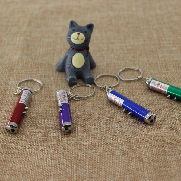 Mini 2 in 1 Versatile Laser Pen Led Light Keychain Key Rings Red White Light Support Customized Logo Promotion Gift Flashlight keychain2016
