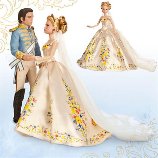 2016 Cinderella Girls Dress New Movie Cinderella dress Princess Golden  Wedding dress kids girls dresses costume