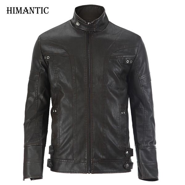 Wholesale- Leather Jacket Men chaqueta Jaqueta Couro Masculino Bomber Leather Jackets Coat Motorcycle Jackets jaqueta de couro masculina