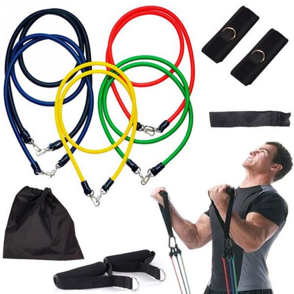 Wholesale-11Pcs / Set Pilates Látex Expansores de tubos Resistencia de yoga Fitness Band Inicio Ejercicio Elástico Conjunto de cuerdas de entrenamiento