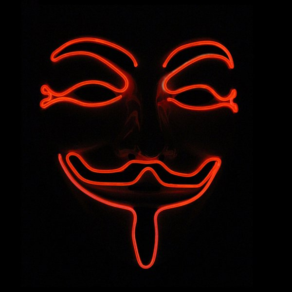New wire EL MASK Light Up Neon light Vendetta Party Fashion V Cosplay Costume Guy Fawkes Anonymous mask for party Halloween scary Carnival